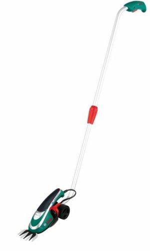 Bosch Isio Akku-Grasschere + Teleskopstange + Grasscherblatt + Ladegerät (3,6 V, 8 cm Messerbreite)