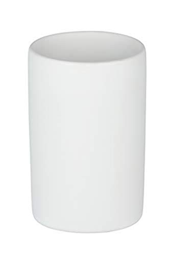 WENKO Zahnputzbecher Polaris, hochwertiger Zahnbürstenhalter für Zahnbürste und Zahnpasta aus edler Keramik, Ø 7,5 x 11,2 cm, Weiß matt