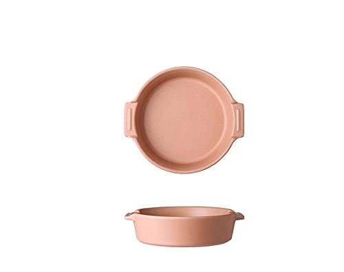 Plato plato plato hondo plato de sopa plato binaural para el hogar plato de ensalada de cerámica bandeja para hornear plato lindo plato binaural para horno - ( rosa )