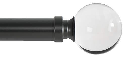Ivilon Drapery Treatment Window Curtain Rod - Acrylic Ball 1 inch Pole. 72 to 144 Inch. Black