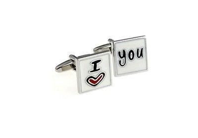 ProCuffs Boutons de Manchette carrés en émail Blanc I Love You