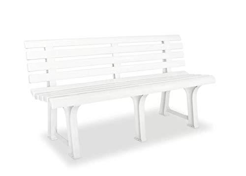 Tomaino Panchina da Giardino in plastica 3 posti (Bianco)