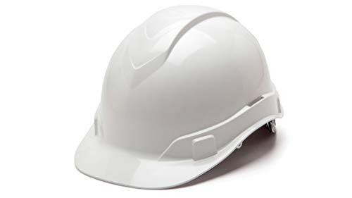 Cap Style Ridgeline ABS White Hard Hat Design Safety Helmet, With 6 Point Suspension + Reflector Decal, By Acerpal