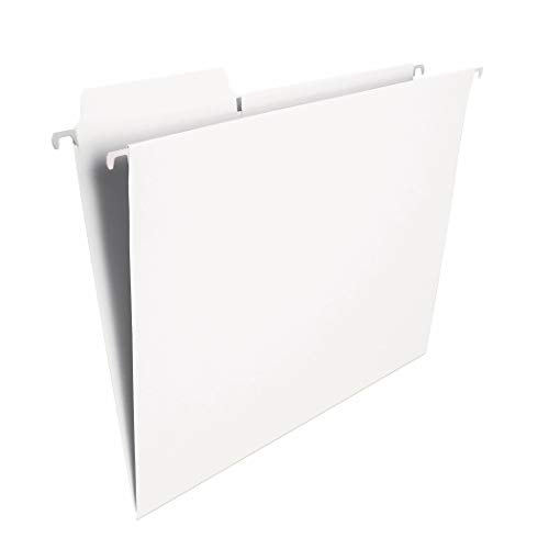 Smead FasTab Hanging File Folder, 1/3-Cut Built-in Tab, Letter Size, White, 20 per Box (64002)
