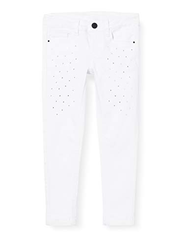 Mek Pant. Drill Color Stretch con Strass Pantaloni, Bianco (off White 01 900), 152 (Taglia Unica: 12A) Bambina