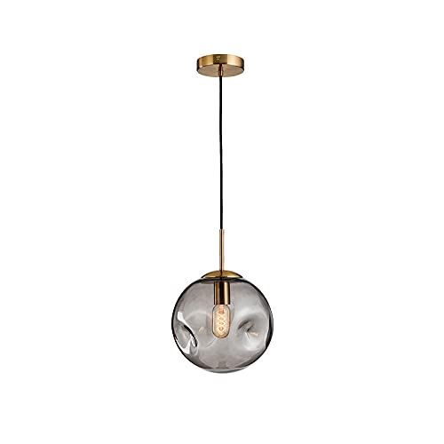 SDFDSSR Moderno Colgante De Globo Creativo Gris Droplight Lámpara Colgante Cóncavo-Convexa De Vidrio De Una Sola Cabeza Lámpara Colgante Adecuada para Isla De Cocina, Comedor, Sala De Estar