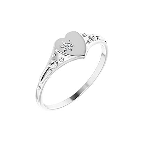 Anillo de oro blanco pulido de 14 quilates con diamante de 01 quilates para jóvenes, con forma de corazón, tamaño J 1/2, regalo para mujer