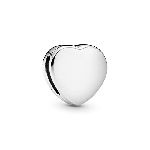 Pandora 925 plata esterlina joyería colgante Charms corazón simple clip encanto Fit pulsera joyería
