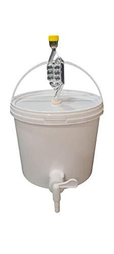 sil2018 Kompletter Gärbehälter 5L - Set: Gäreimer mit Gärröhrchen und Dichtgummi und Ablaufhahn aus Kunstoff, Eimer für Bier oder Wein mit Griff, weiß