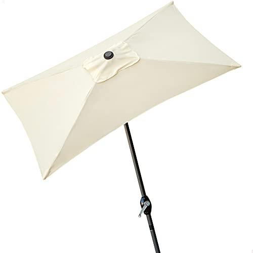 Aktive - Parasol rectangular Garden 1,2 x 2 m - Mástil de aluminio 38 mm - Blanco roto (ColorBaby 53879)