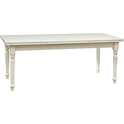 Biscottini Table Extensible en Bois Massif de Tilleul - Style Country - Structure Blanche Antique L 200 x P 90 x H 80 cm