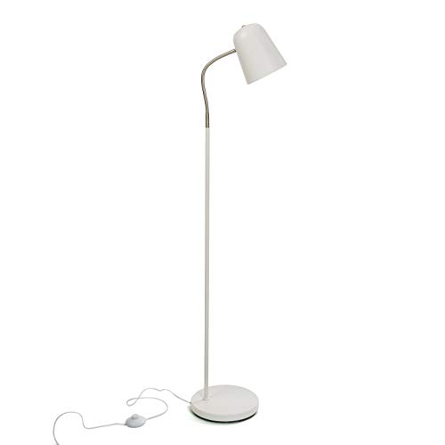 Versa 20840053 Lámpara de pie Blanca de Metal, 142 x 23 x 35 cm