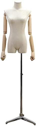 LLSS Mannequin voor Doek Display Vrouwelijke Oefenpop Torso Body Kleermakers Dummy Display Buste Massief Houten Arm Verstelbare Afneembare Beschikbaar Professionele Stand