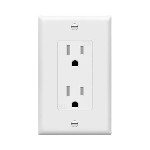 ENERLITES 61501-TR-WWP Decorator Receptacle Outlet with Wall Plate, Tamper-Resistant, Residential Grade, 3-Wire, Self-Grounding, 2-Pole, 15A 125V, UL Listed, White