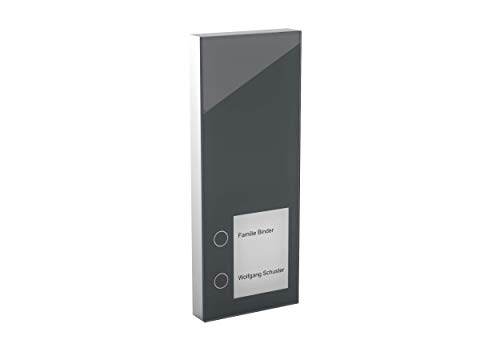 Intercomunicador de puerta DoorLine Slim antracita, timbre, con conexión de abrepuertas eléctrico,...