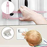 (50 Pack)Outlet Plug Covers Child Proof Electrical Protector Safety Caps Safe & Secure Electric Plug Protectors Sturdy Childproof Socket Covers+(5 Pack)Sliding Cabinet Locks, U Shaped Baby Safety Lock