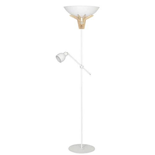 Homemania HOMAX_4393 - Lámpara de suelo Lilusper para interiores, suelo blanco de metal, madera, 47 x 37 x 170 cm