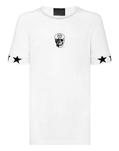 Philipp Plein Camiseta Corte Negro Cuello Redondo Cráneo, Blanco