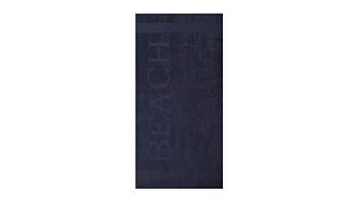 Lucca Serviette de Plage en Tissu éponge Bleu Marine 100 x 200 cm