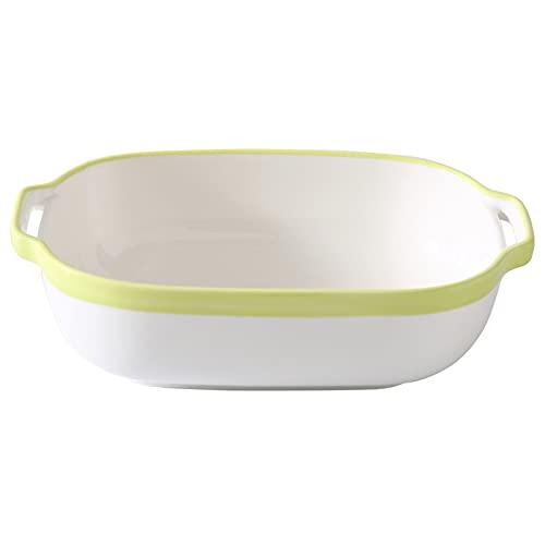 Cuenco para hornear binaural de 8 pulgadas, placa lisa del restaurante, placa apta para el horno (Color : Green, Size : 8 inch)