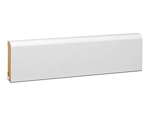 KGM Sockelleiste weiß 78mm | Rund Fussleiste weiss 18x78mm ✓elegante Rundung ✓weisse Leiste ✓Kabelkanal | Edle mdf Sockelleisten weiss Folie | Fussleisten für Laminat & Parkett | Länge 2.5m