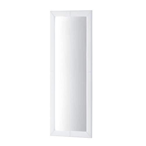 Adec - Espejo de Pared tapizado, Espejo Rectangular Cuerpo Entero salón, recibidor, Comedor, Dormitorio, Acabado en símil Piel Color Blanco, Medidas: 160x60x3 cm de Fondo