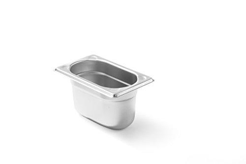 HENDI Gastronormbehälter, Temperaturbeständig von -40° bis 300°C, Heissluftöfen-Kühl- und Tiefkühlschränken-Chafing Dishes-Bain Marie, Stapelbar, 1L, GN 1/9, 176x108x(H)100mm, Edelstahl