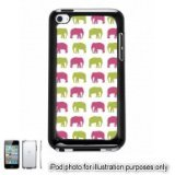 Pink Green Elephants Monogram Pattern Apple iPod 4 Touch Hard Case Cover Shell Black 4th Generation