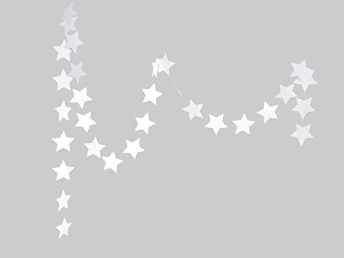 renna deluxe Sterne Girlande Papiergirlande Sterngirlande Dekoration Geburtstag Weihnachten Party Hochzeit (Weiß) | Handmade in Deutschland