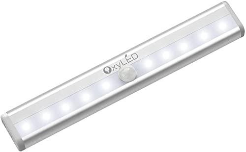 OxyLED Capteur de mouvement éclairage, éclairage du cabinet, bricolage Stick on Anywhere sans fil à 10 LED éclairage sécurisé avec bande magnétique pour les escaliers de la garderobe