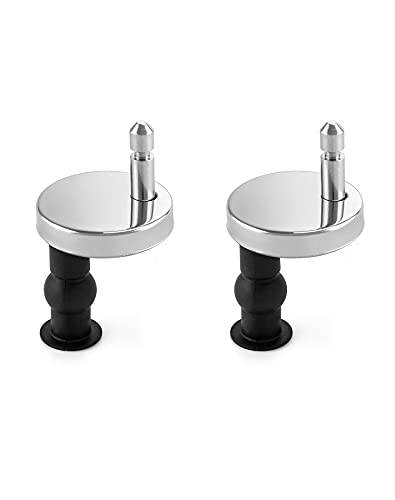 QWORK Toilet Seat Hinge, Quick Release Fittings Screws Nuts Rubber Back to Replace Toilet Seat Hinges, 2 Pack