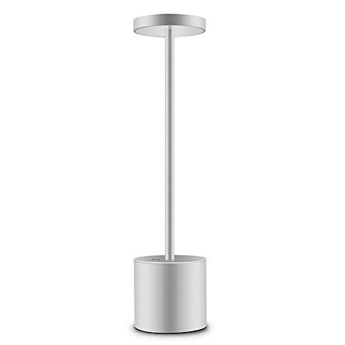 Zantec Lampada da tavolo,Argento,Ricarica USB,LED Elegante lampada da tavolo,con 2-Mode, Eye-Protect,Luce bianca calda,per Cena all'aperto,La tavola estiva crea atmosfera,Ufficio,studio, comodino