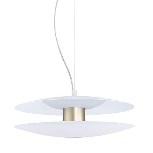 EGLO LED Pendelleuchte Trappeto, 2 flammige Hängelampe dimmbar, Hängeleuchte Modern, Minimalismus aus Stahl und Kunststoff, Esstischlampe, Wohnzimmerlampe hängend in weiß , Champagnerfarben