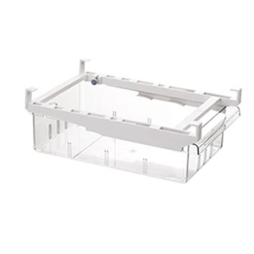 WHAIYAO Caja De Almacenamiento del Cajón del Refrigerador Compartimientos Organizadores del Refrigerador Extraíbles con Asa Varilla Telescópica Ajustable(Size:30.1x19.1x11cm)