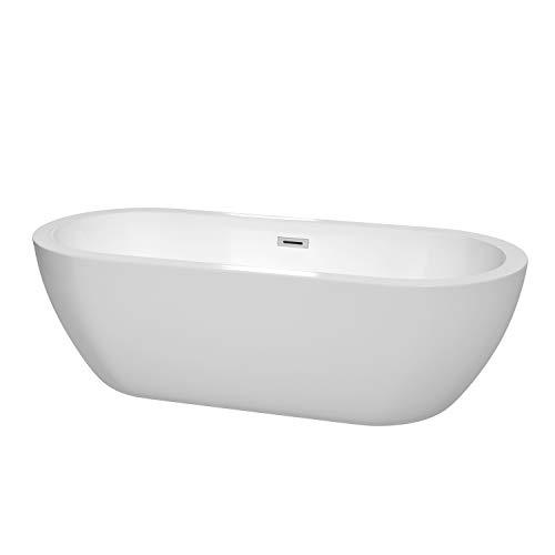 温德姆收集苏荷72英寸独立浴缸的白与抛光镀铬排水溢水修剪