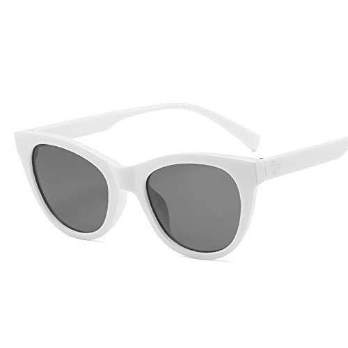 ShSnnwrl Gafas De Moda Gafas De Sol Clásico Vintage Cat Eye Gafas De Sol Mujer Gafas De Sol Mujer/Hombre Retro Pequeñas Gafas De Sol Blanco Gris