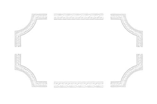 Wand- und Deckenumrandung | 4 Segmente | Barock | Deko Rahmen | Styropor | EPS | innen | Bordüre | 220 x 220 mm | NB-10-01