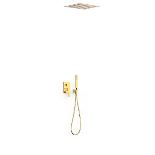 Kit de grifo monomando empotrado de 2 vías Rapid-Box para ducha, gama Slim-Exclusive, con rociador de 38 x 38 cm y ducha de mano, acabado oro (referencia: 20228006OR)