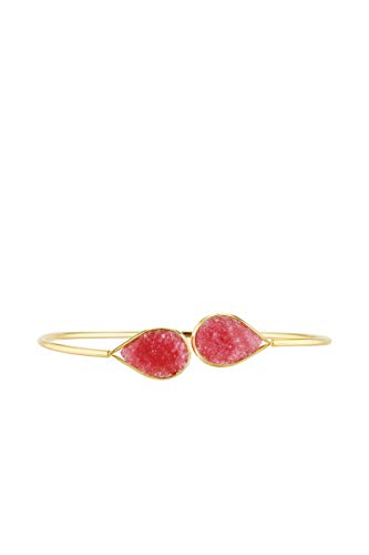 Córdoba Jewels |Pulsera en Plata de Ley 925 bañada en Oro con Piedra semipreciosa con diseño Doble Gota Frambuesa Gold
