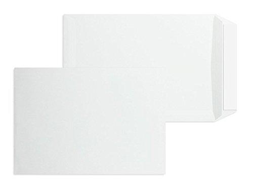 500 Stück, Versandtaschen, DIN B5, Haftklebung mit Abziehstreifen, Gerade Klappe, 90 g/qm Offset, Ohne Fenster, Weiß, Blanke Briefhüllen