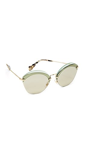 Miu Miu Women's Overlapping Sunglasses, Transparent Green/Light Brown, One Size
