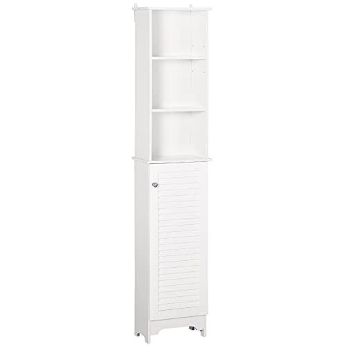 HOMCOM Badezimmerschrank mit höhenverstellbarem Regal Badmöbel mit Lamellentür Badezimmer-Hochschrank MDF Spanplatte Weiß 34 x 20 x 165 cm
