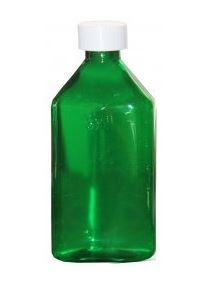 Oval Plastic Bottles - 2oz, Green, CR caps - 5 pcs