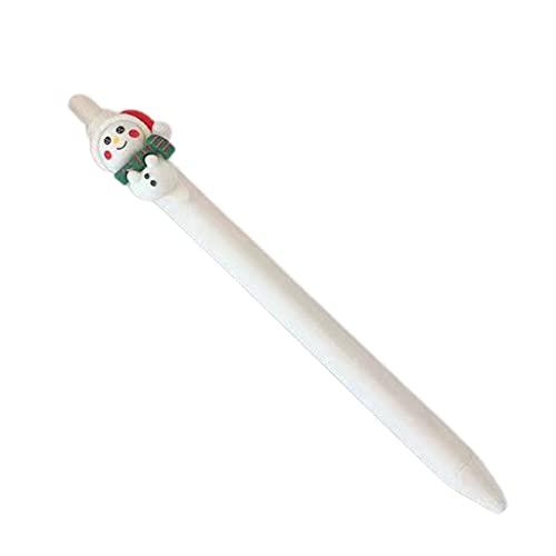 KerDejar Bolígrafo de gel retráctil, recargable, color negro, con plumín de bala de 0,5 mm, ideal para estudiantes, oficina, hombre de nieve blanco