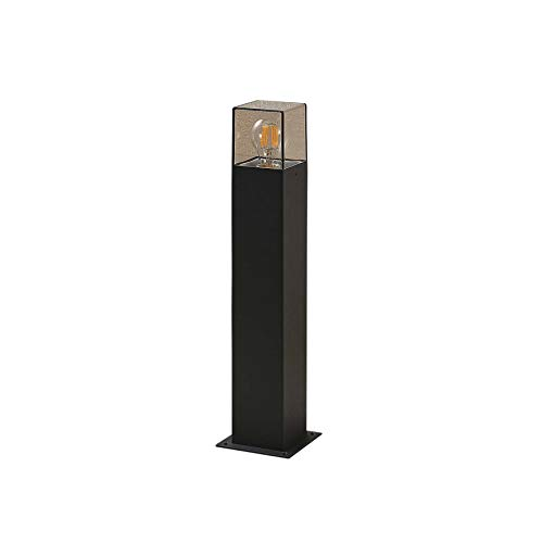 Lucande Außenleuchte 'Keke' (spritzwassergeschützt) (Modern) in Schwarz aus Aluminium (1 flammig, E27, A++) - Wegeleuchte, Pollerleuchte, Wegelampe, Sockelleuchte