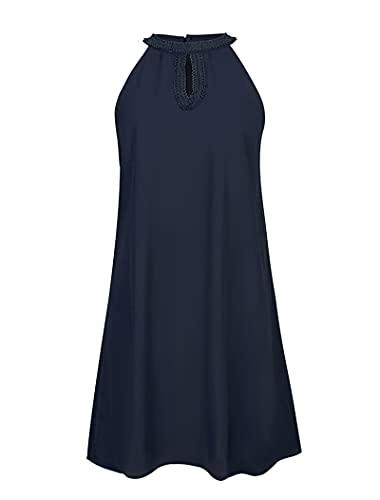 SLYZ Mujeres Europeas Y Americanas Tendencia De La Moda De Verano Que Cuelga El Vestido con Estampado De Cuello Mujeres