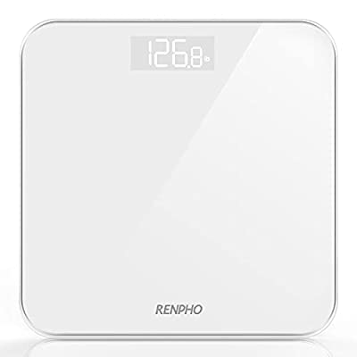 RENPHO Digital Bathroom Scales Weighing Scale with High Precision Sensors Body Weight Scale (Stone/lb/kg) - White