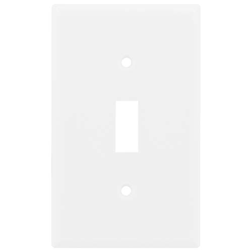 """Power Gear, White, 7174, Single Toggle Switch Wall Plate Cover, 1 Gang, Standard, Unbreakable Faceplate, 2.75"""" x 4.5"""", Screws Included, 07174"""