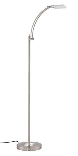 Briloner Leuchten LED Stehleuchte, Leselampe, Leuchtenkopf Schwenkbar/Kippbar, 600 lm, 6 W, Metall Kunststoff, Matt-Nickel, Höhe: 1.48 M