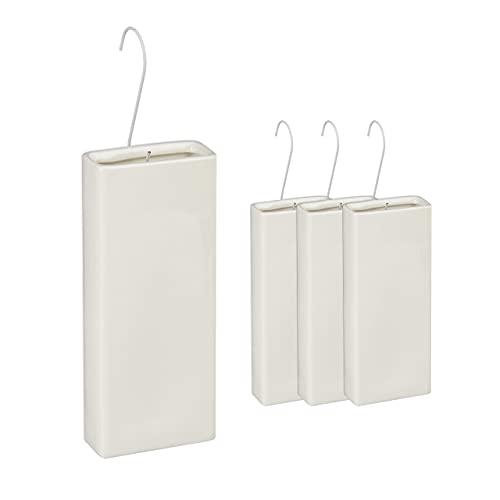 Relaxdays Humidificateur d'air radiateur, x4, évaporateur d'eau chauffage, avec crochet pour suspendre, céramique, blanc
